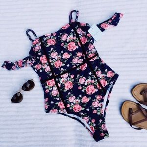 Cupshe off-the-shoulder floral one-piece swimsuit